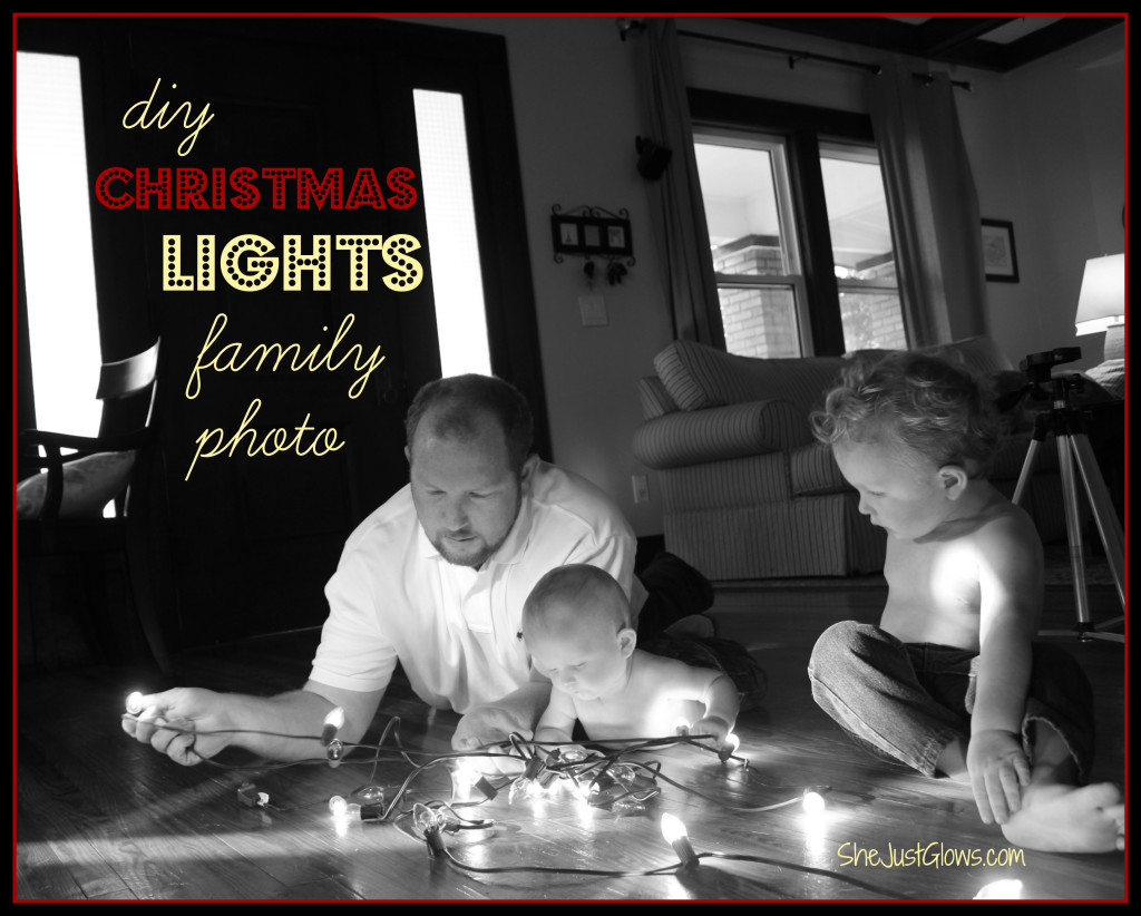 DIY Christmas Lights Family Photo SheJustGlows.com