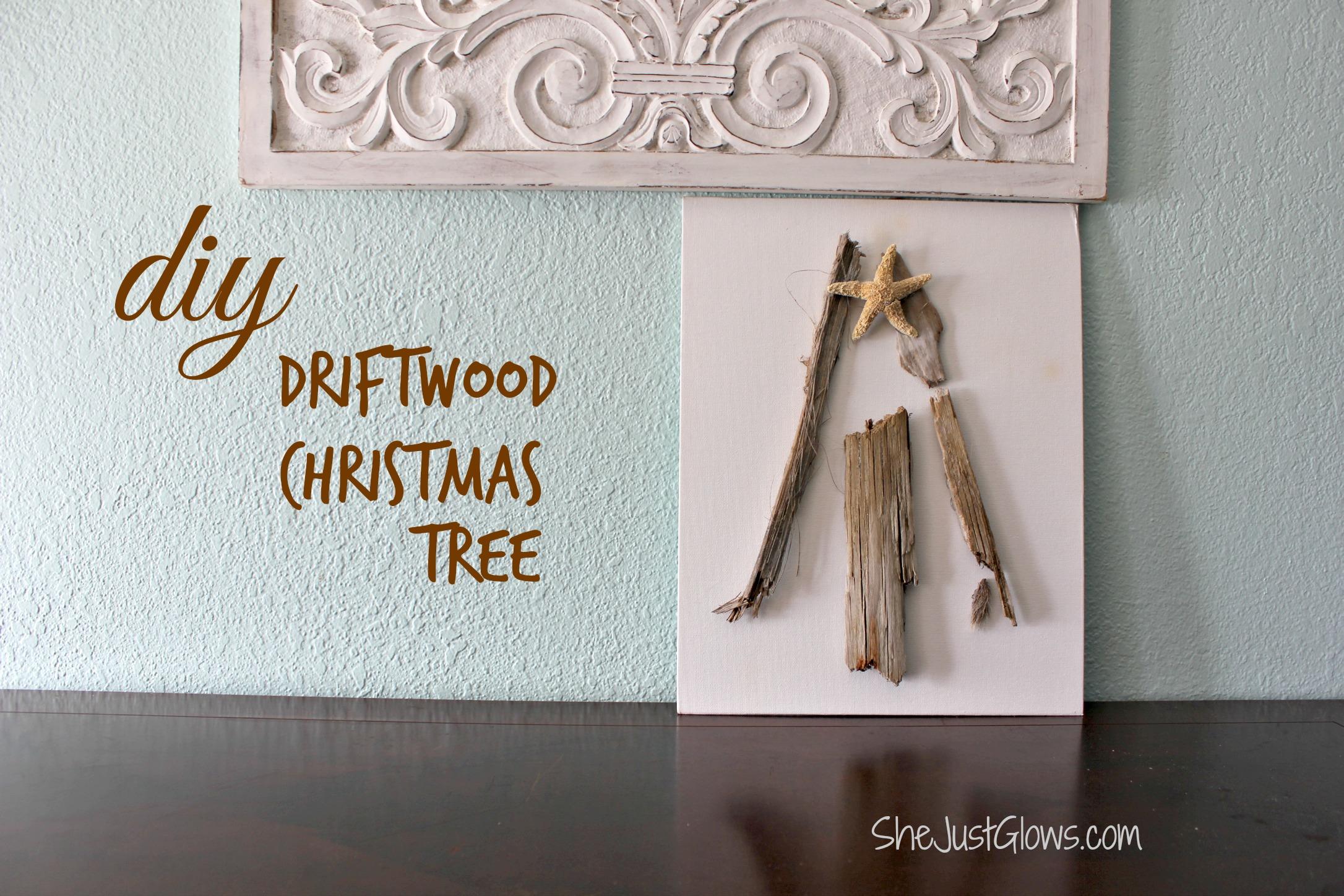 DIY Driftwood Christmas Tree Canvas SheJustGlows.com