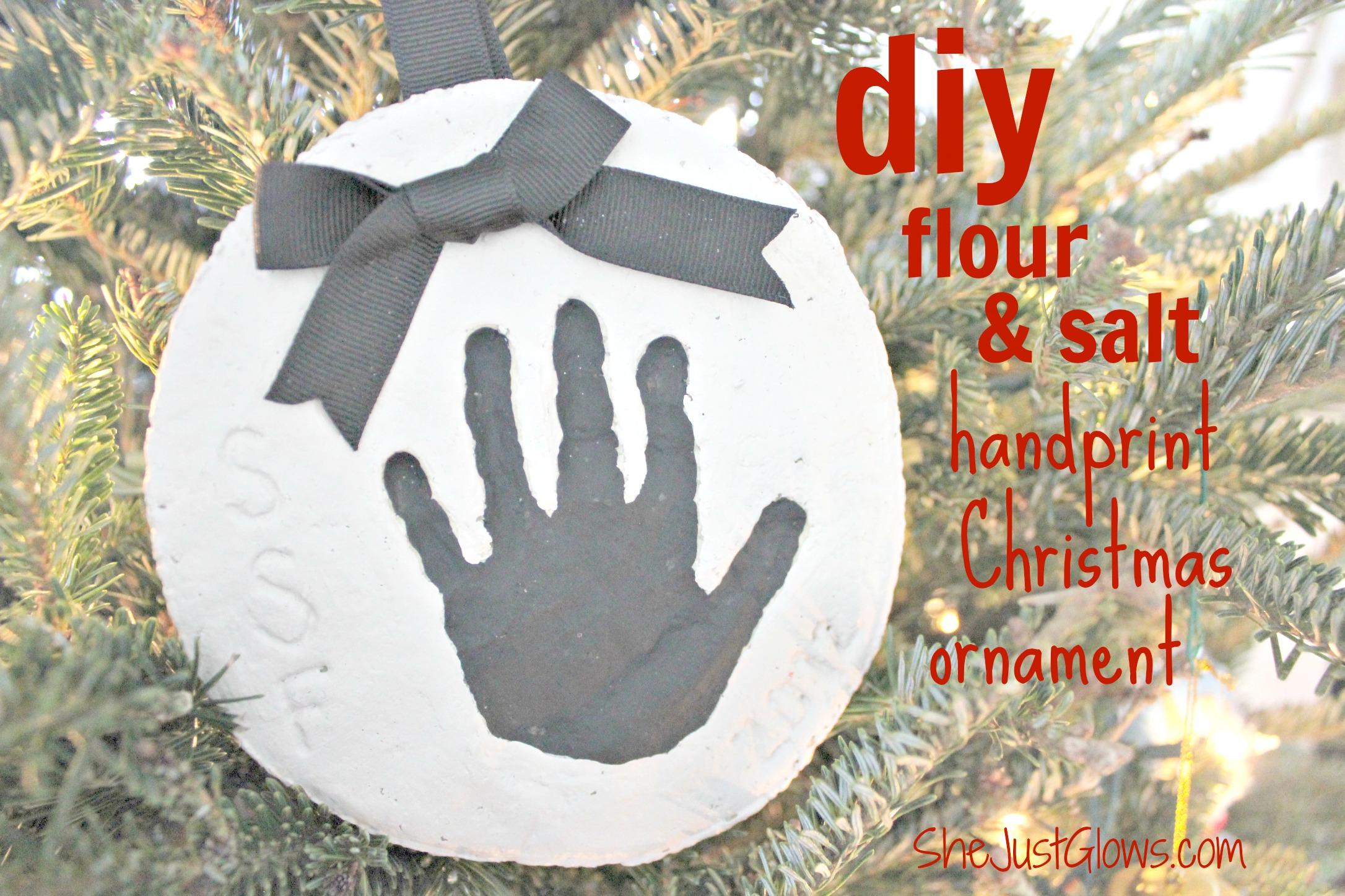 DIY Flour & Salt Handprint Christmas Ornament SheJustGlows.com