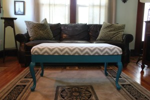 DIY $4 Chevron Bench Makeover SheJustGlows.com